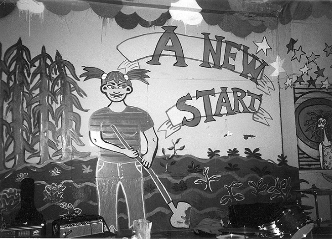 Mural by Ivy Jeanne in 949 Market Squat, 2001; photo Erick Lyle