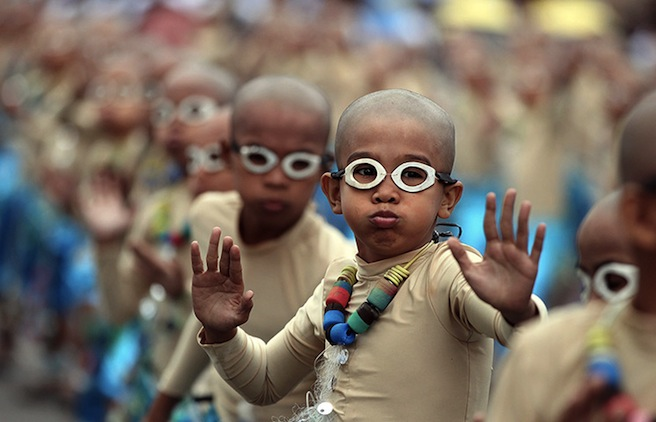 Cebu, Philippines: Children perform during a feast celebrating Jesus as a child Photograph: Jay Rommel LabraEPA