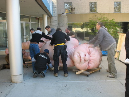 Gigantic baby sculpture