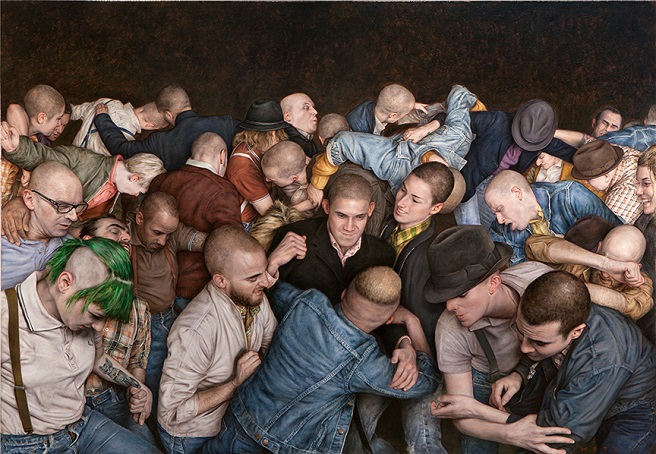 a painting of people moshing