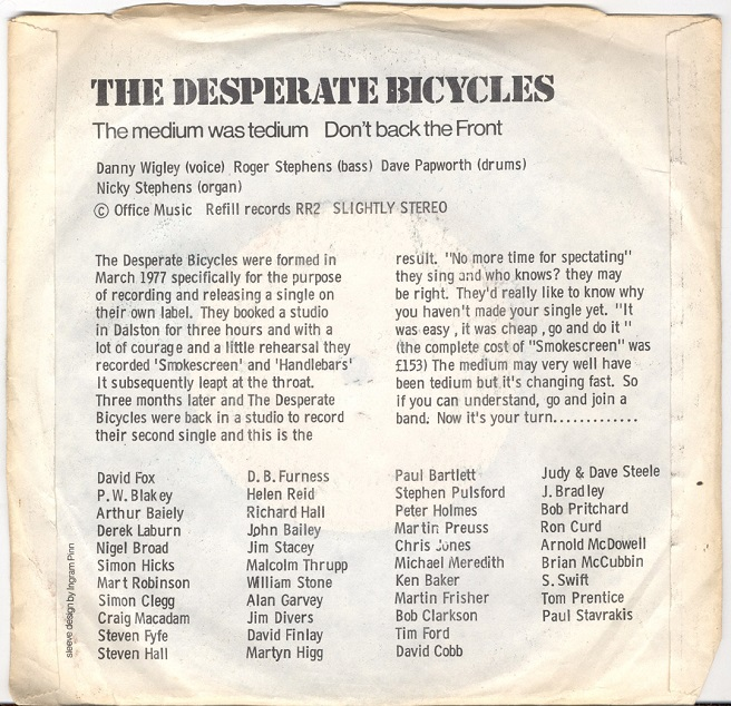 back cover of The Desperate Bicycles' second single