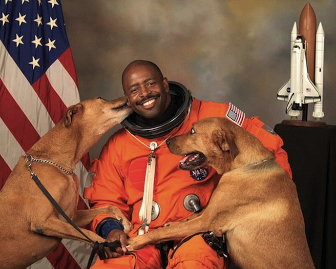 Astronaut and dogs