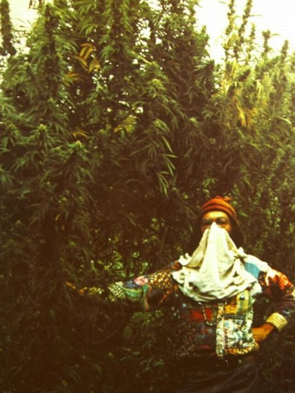 Man with mask in trees