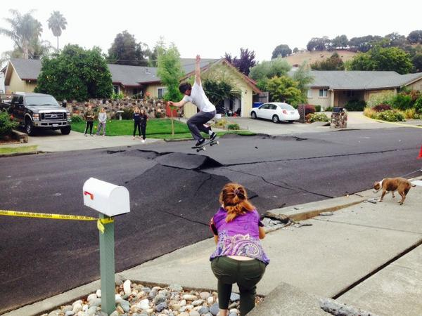 Skateboarding the earthquake