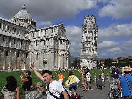 Tourists in Pisa, source unknown